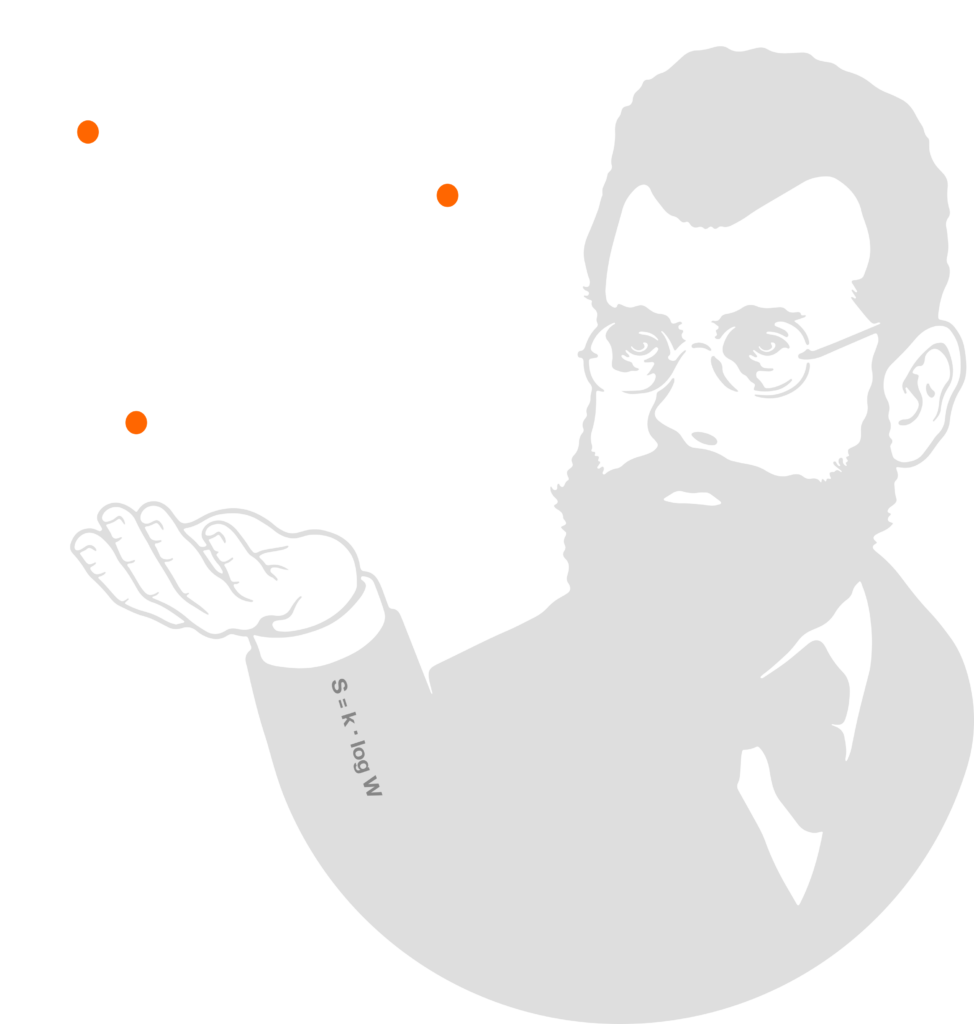 Ludwig Boltzmann in one of our logo early developements. Thanks to Stefano Campus, our graphic designer